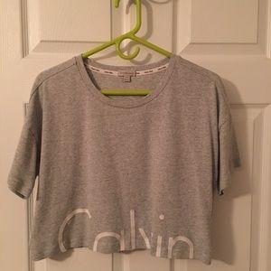 Calvin Klein grey cut off shirt size small